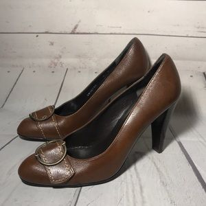 Stuart Weitzman Brown Leather Buckle Heels Size 8